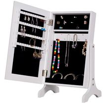 Modern Style Table Top Mini Dressing Mirror With Jewelry Cabinet