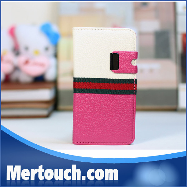 Contrast Color with Wallet Designs Mobile Phone Leather Case for Samsung S5 i9600