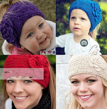 Women Crochet Headband Handmade Knitted Flower Winter Headwrap
