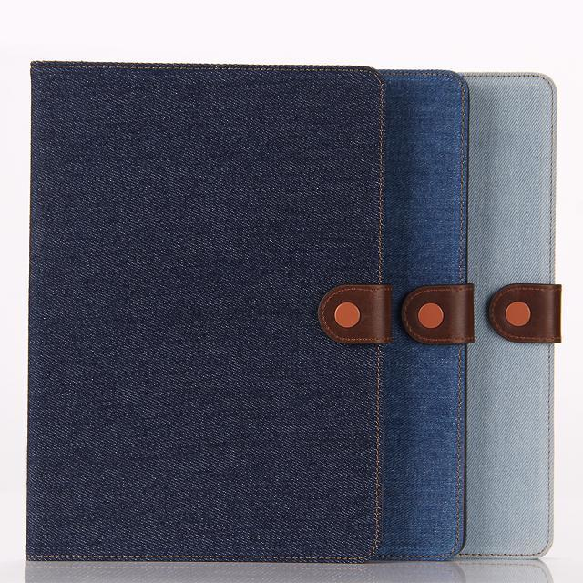 Jeans wallet leather case for ipad air 2, Jeans flip leather pouch case for ipad 6