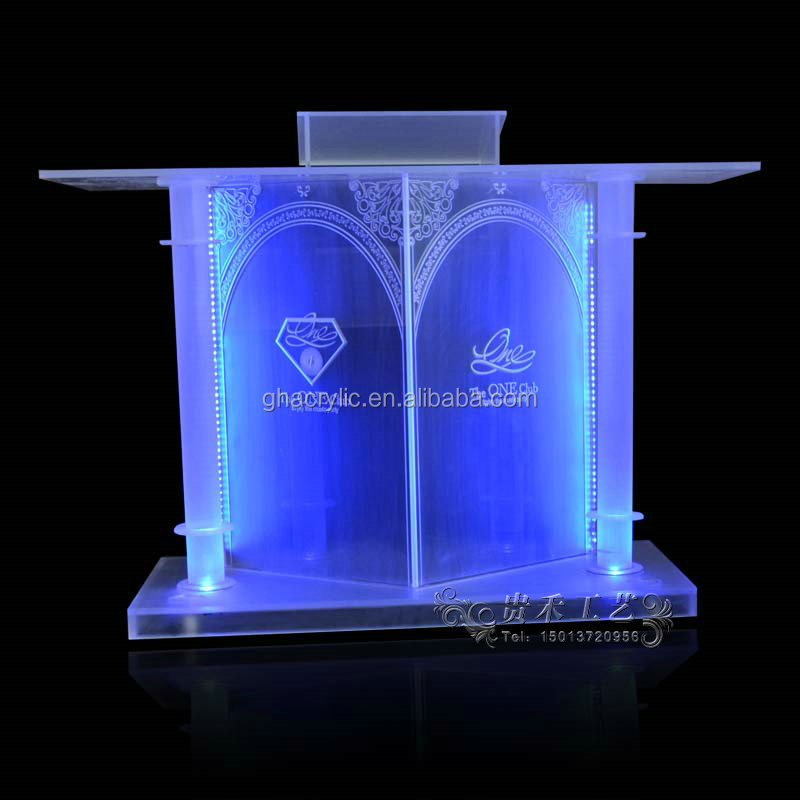 factory outlet professional manufacturer grand and graceful bar table church pulpit designs with LED lights