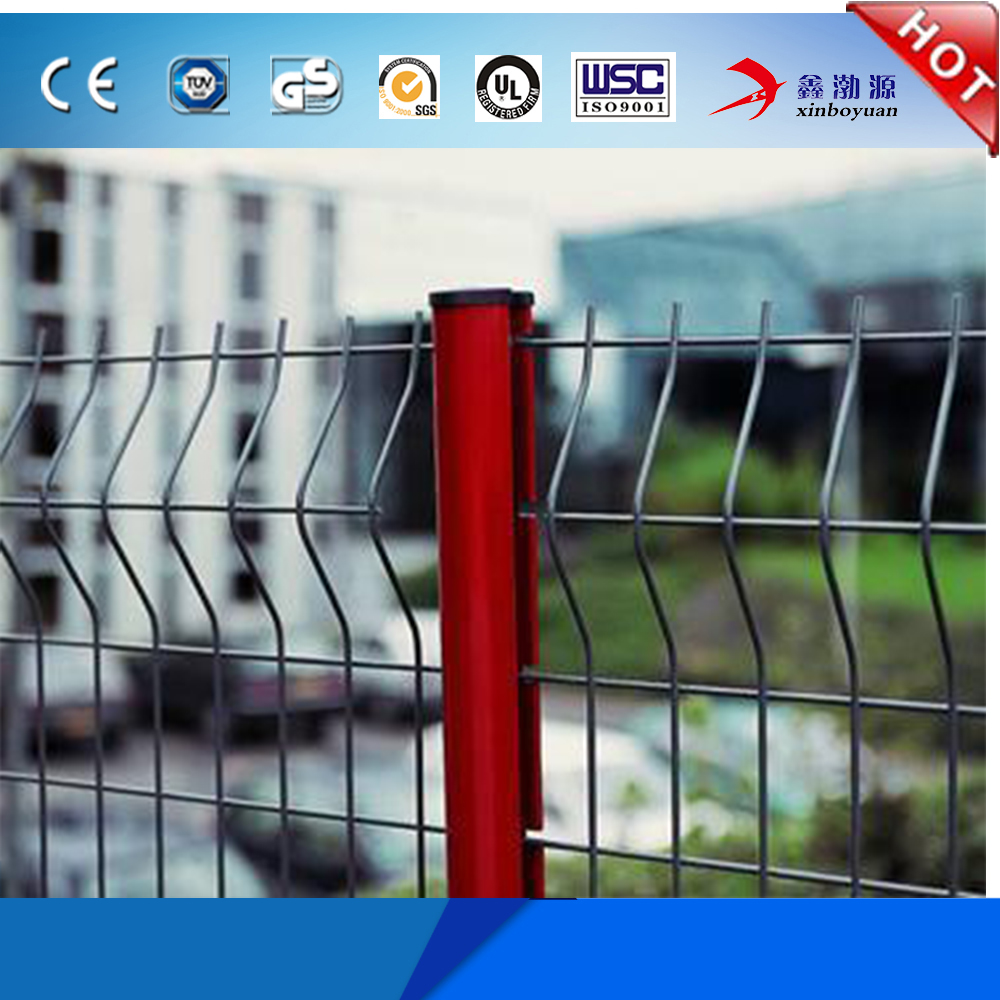 high quality low price PVC coated galvanized welded wire mesh fence 3D curvy triangle bending fence for factory hot sale