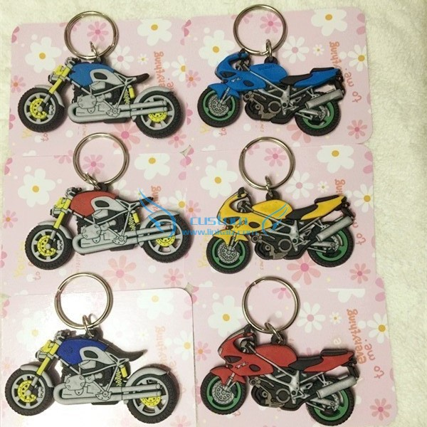3d promotion pvc key ring Modern branded motorcycle keychain