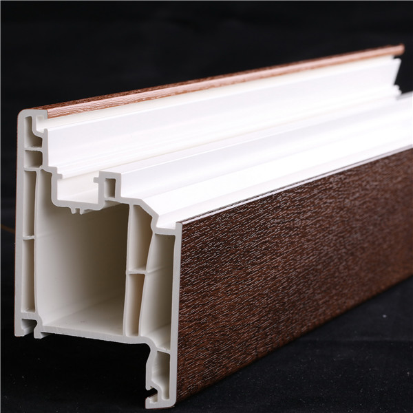 70mm series wood laminated upvc door frame extruded plastic profiles for windows and doors