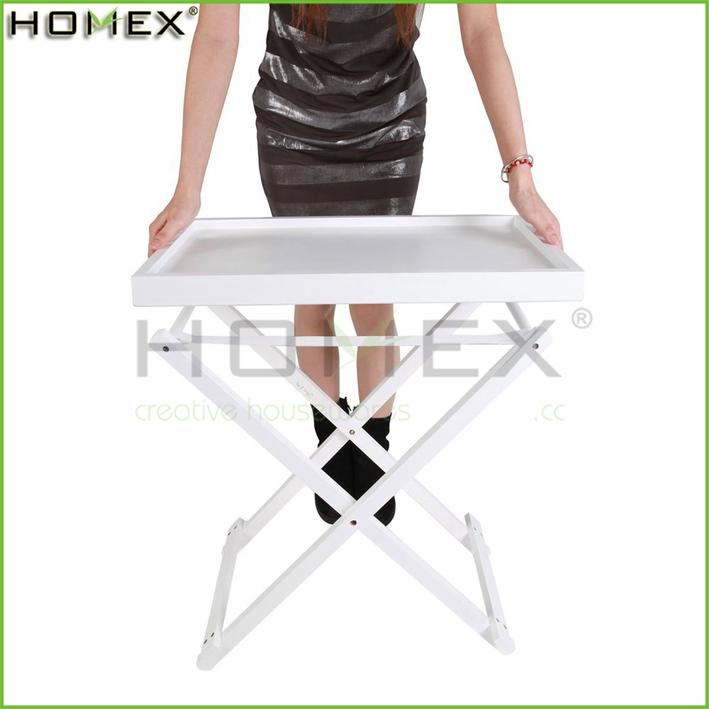 Wood Serving Tray Side Table with Handle in White/Folding Table Tray/Homex_FSC/BSCI Factory
