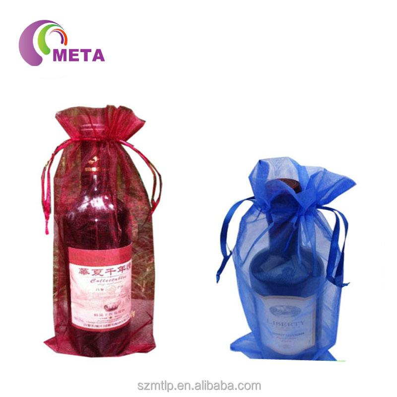 Holiday Gift Packaging Organza Wine Bags/ Wine Bottle Pouch/Silk Organza Bags