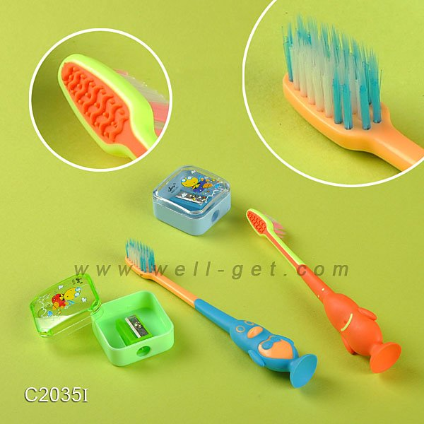 Child Care Products /Toothbrush With Tongue Cleaner/Anime Sex Child