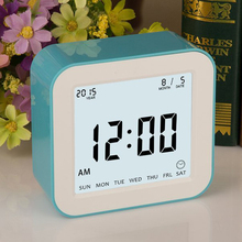 4function ABS multi-function home table digital large screen led high quality square rotating alarm clock with timer 7 day week