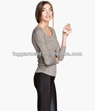 Ladies Long Sleeve Burnout pattern Knit Top