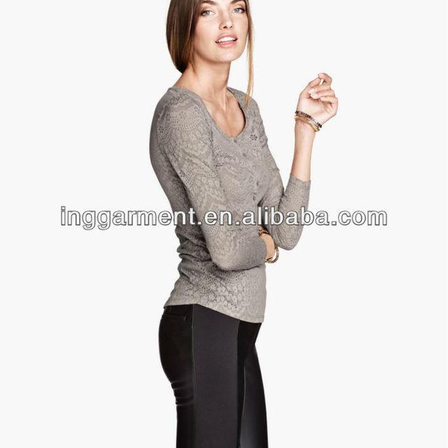 Ladies Long Sleeve Burnout pattern Knit Top