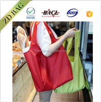 Hot selling polyester foldable promotional pure colour shopping bags