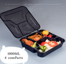 1000ML hinged/clamshell siamesed lid pp plastic microwave safe 4 compartments food container