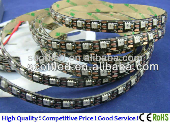 5V WS2811 LED Digital Strip light, addressable rgb led strip for clothes with 60leds/m, 12mm black pcb board