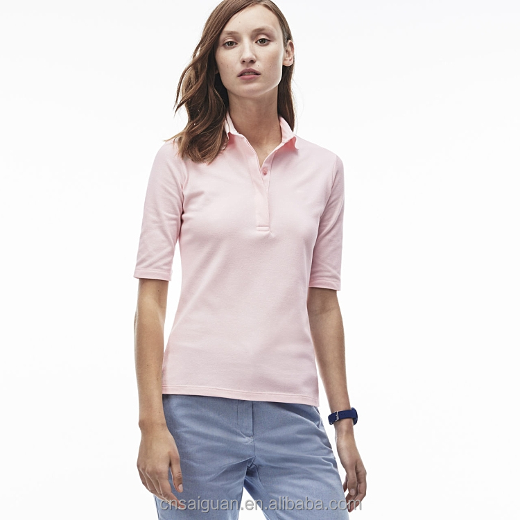 Custom made lady polo fashion design women's solid color polo
