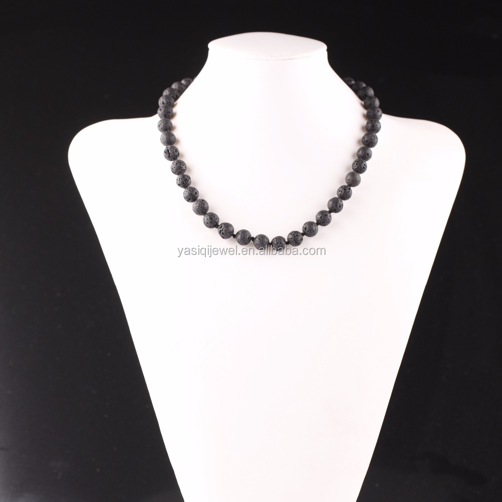 Fashion jewelry black lava rock bead necklace