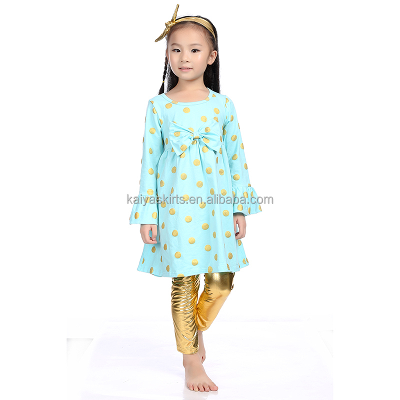 children boutique clothing fall 2017 posh gold dot dress and gold pant fall kids clothes