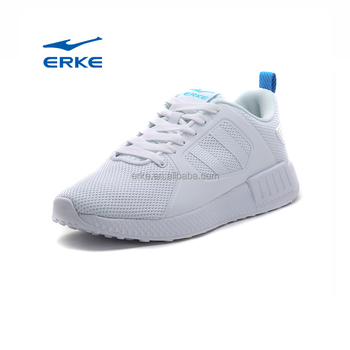 ERKE wholesale 2017 ladies breathable mesh comfortable lightweight lace up pure white women sport shoes