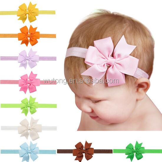 20 colors 3'' Solid Color Grossgrain Ribbon Hair Bow Headband,Handmade Elastic Hairbows Baby Hair Accessories Headwear