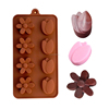 8 drops new design rose shape HANDMADE silicone 3D chocolate mould