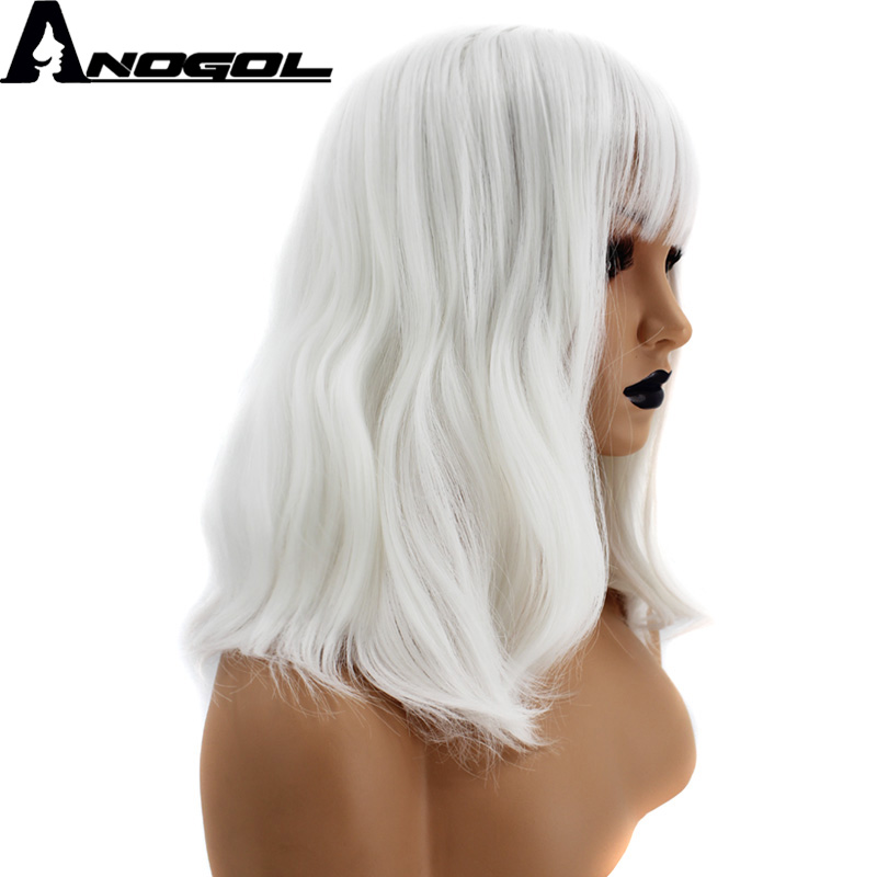 Anogol High Temperature Fiber Natural Wave White Bob Synthetic Wig For Women With Flat Bangs