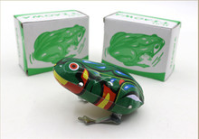 Kids Classic Tin Wind Up Clockwork Toys Jumping Frog Vintage Toy For Children Boys Educational