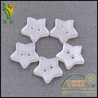 C071 2 hole white star shaped pearlescent buttons for garments