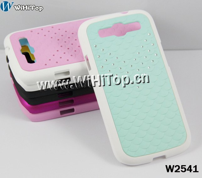 most fashion diamond Fish scales skin hard case for Samsung Galaxy S3 SIII i9300,retail box package