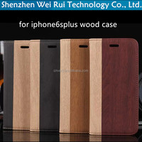 luxury wood cover for apple 6splus 5.5 inch stand flip pu leather for iphone 6splus case