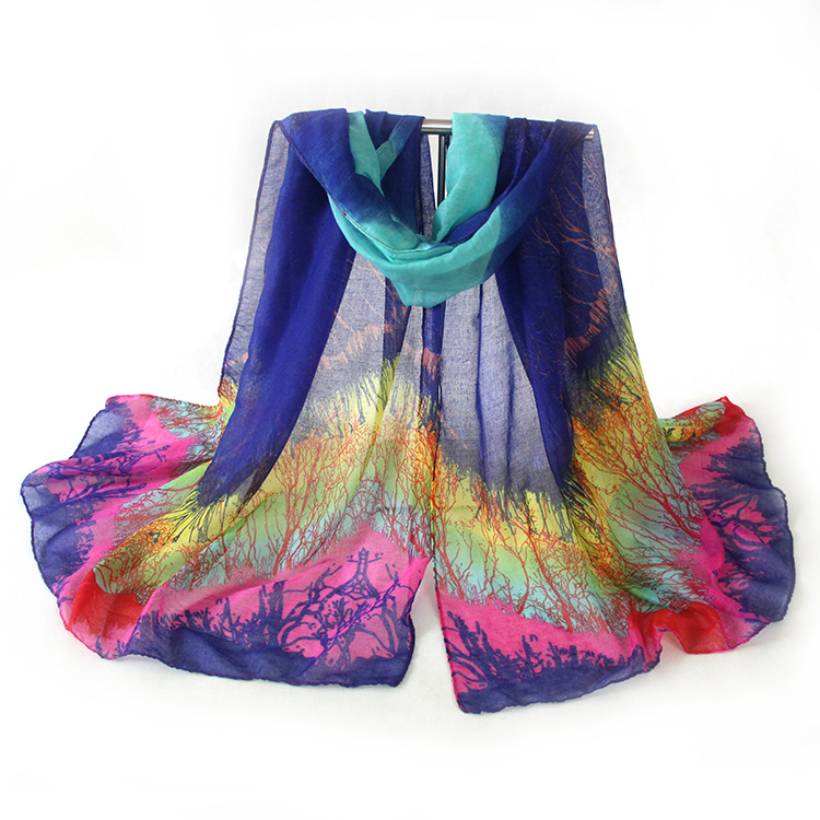 Fashion Ladies Summer Voile Rich Tree Printed Scarf