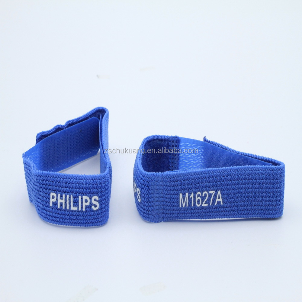 Logo printed blue elastic hook and loop cable ties