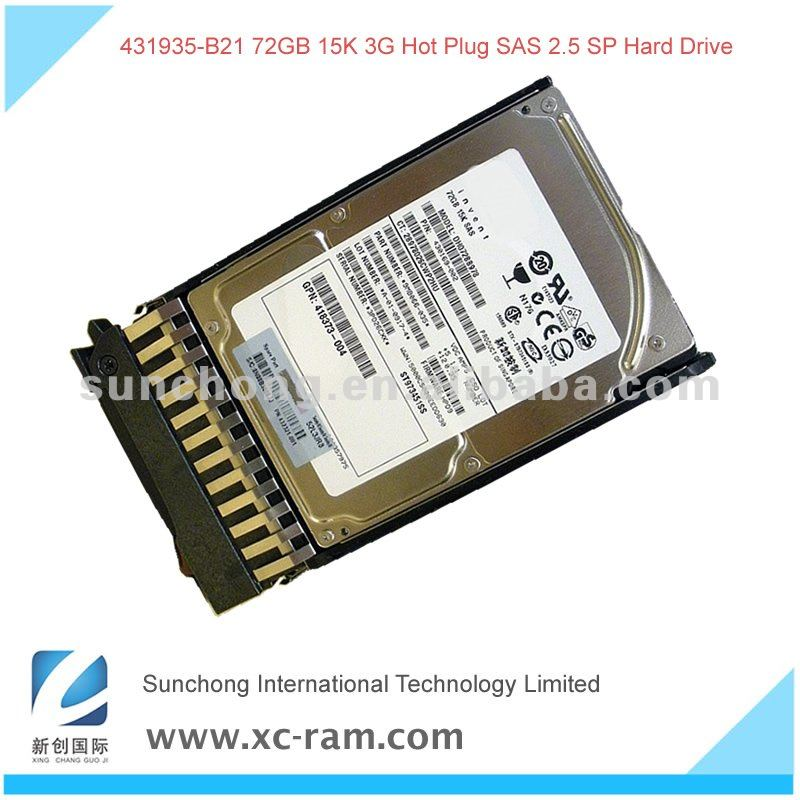 "431935-B21 72GB 2.5"" Serial Attached SCSI (SAS) SFF 3G Single Port Hot-Plug 15K Hard Disk Drive"
