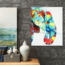 Abstract knife painting elephant wild animal funny hand paint oil painting