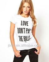 front big words printing women t-shirt oem 2013
