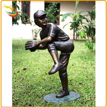 School Modern Bronze Sculpture Baseball Player Statue