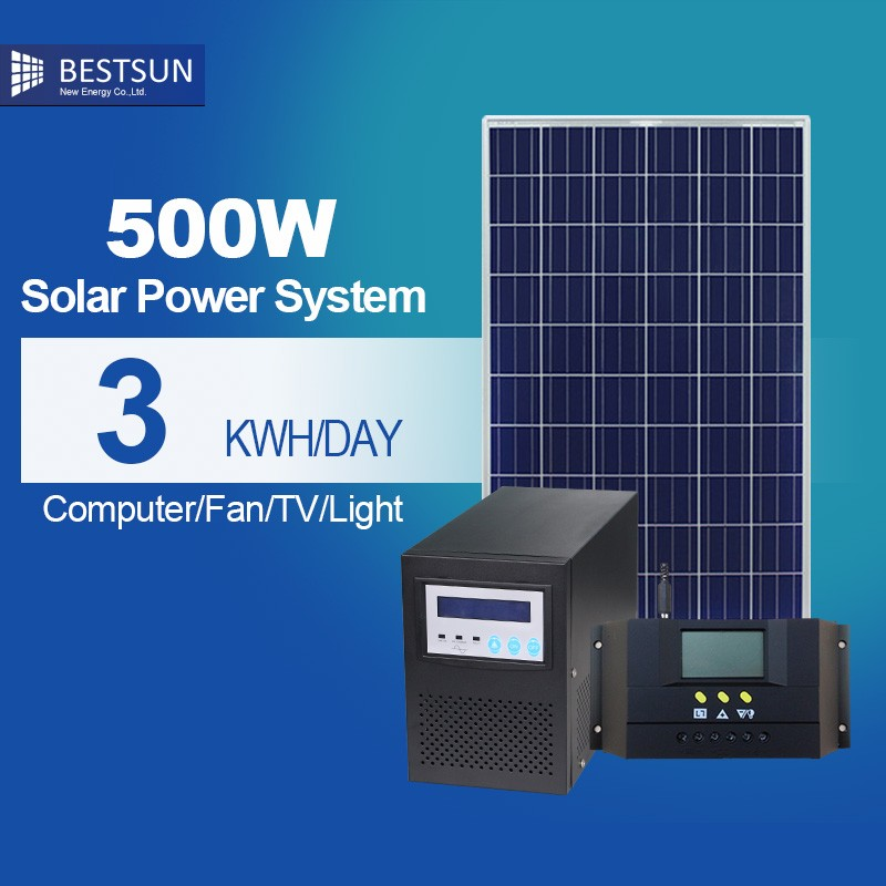 Free maintenance 500w solar system generator include small solar panel also with grid tie inverter for solar