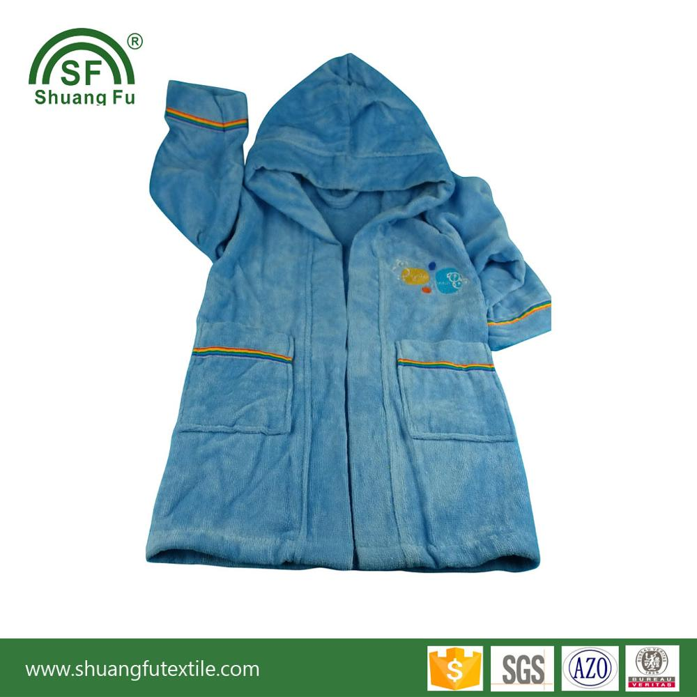 100 % cotton velour super soft and fast dry embroidery child bathrobe for kids