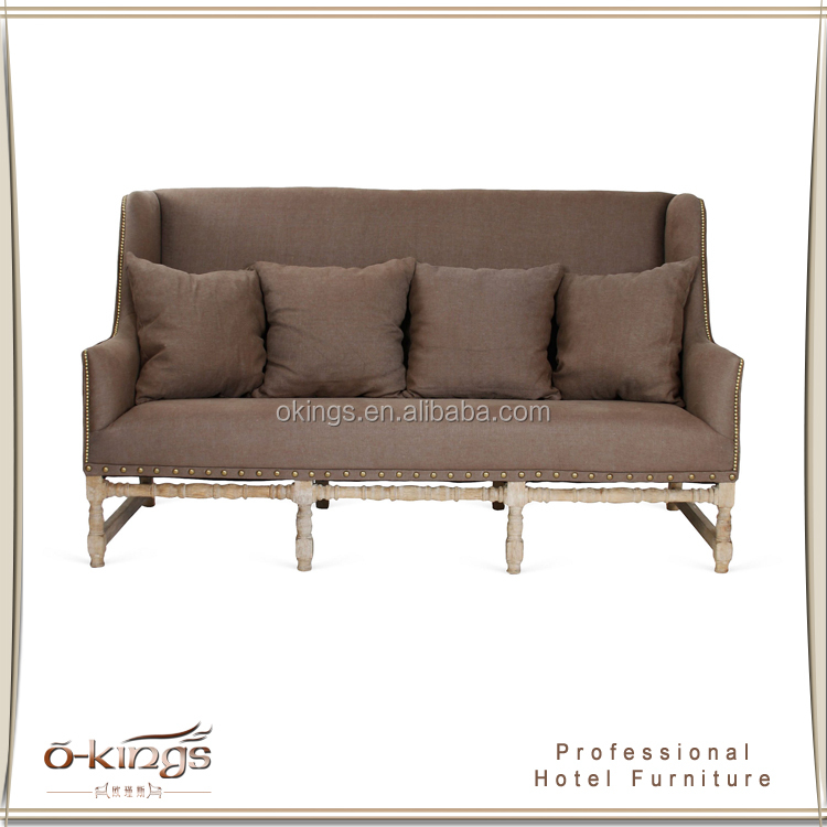 American style carved solid wood leisure sofa furniture