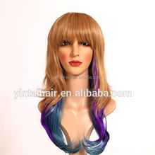 Ombre hair wig women fashion anime Cosplay lolita 3 colors mixed long curly heat Resistant full wig 2015 hot selling