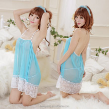 Hot Sexy Transparent Nighties Lingerie with Thong Blue Sex Babydoll Products