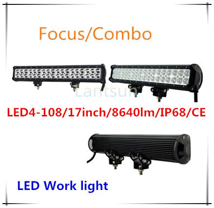 17inch Spot Combo 108w waterproof led driving light bar