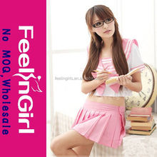 Sexy pink wholesale cheap school girl teacher costume
