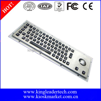 65keys with LED backlight metal industrial keyboard with trackball