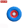 blue colod tyre pu foam caster small rubber wheel 3.50-4