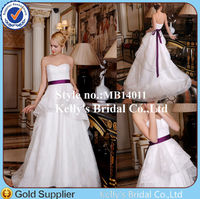 fashion korean sweetheart purple sash layers skirt appliqued ivory and burgundy wedding dress