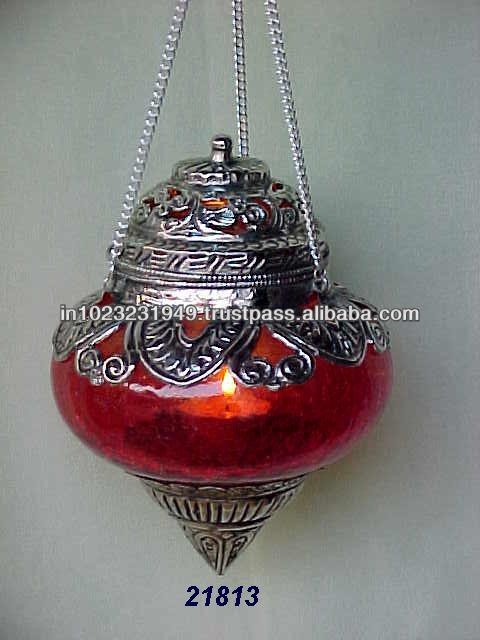 RED GLASS HANGING LANTERN CL 19