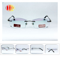 2016 new power lens trimming stainless steel metal high quality diamond cut rimless men reading glasses