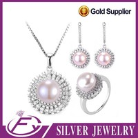 925 sterling silver zircon stone natural freshwater pearl jewelry set