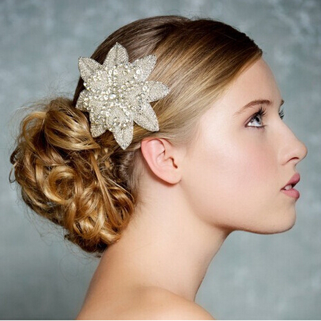 rhinestone white flower <strong>hair</strong> <strong>accessory</strong>