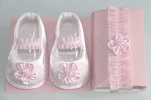 Pink Satin Ribbon Bow Rose Baby Girl Shoe - Newborn