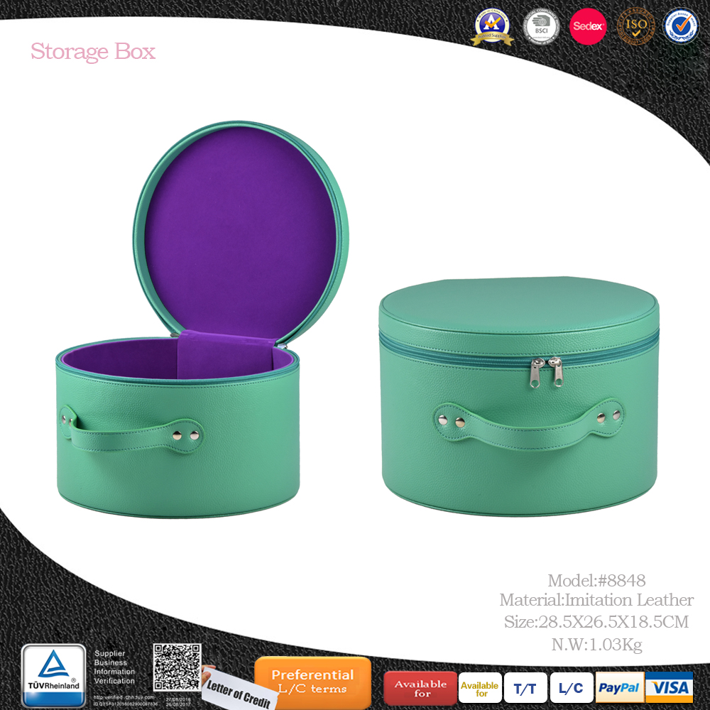 Custom size fabric covered round hat storage boxes wholesales